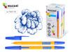 Ручка шарик.mero, синяя, игольч.пиш.узел 0,8мм, шестигран.желтый